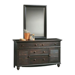 Sauder - Harbor View Dresser & Mirror Set - Not California Air Resources Board (CARB) compliant. Includes 4 drawer dresser and mirror. Patented T-lock assembly system. Additional storage behind louver detailed doors. Detailing includes solid wood knobs and turned feet. Made of engineered wood. Assembly required. Dresser: 58 in. W x 18 in. D x 34 in. H. Mirror: 31 in. W x 3 in. D x 43 in. H