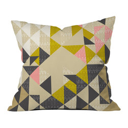 DENY Designs - Pattern State Nomad Quilt Outdoor Throw Pillow - Do you hear that noise? it's your outdoor area begging for a facelift and what better way to turn up the chic than with our outdoor throw pillow collection? Made from water and mildew proof woven polyester, our indoor/outdoor throw pillow is the perfect way to add some vibrance and character to your boring outdoor furniture while giving the rain a run for its money.