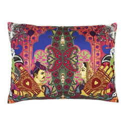 Designers Guild - Mumbai Bougainvillier Pillow - This pillow owns an very intricate pattern with its embroidered and digital print. It exhibits the great Indian city of Mumbai on one side and on the reverse to the Lacroix gazette.