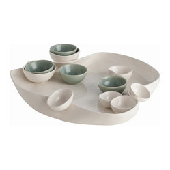 Arteriors - Tessa Tray - You'll turn entertaining into a true art form with this distinctive set. Here, a free-form ceramic sculpture becomes an elegant serving piece, accompanied by matching and contrasting bowls.