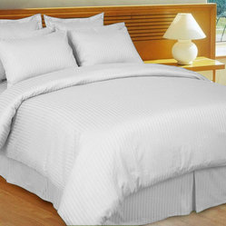 1000TC Egyptian Cotton Sheet Set 4pc White Stripe - FREE USA SHIPPING
