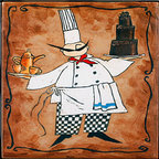 "Tile Art Gallery - Chef with Cake - Ceramic Accent Tile, 4.25 in - This is a beautiful sublimation printed ceramic tile entitled ""Chef with Cake"" by artist Anne Tavoletti. The printed tile displays an Italian themed Chef. Pricing starts at just $14.95 for a 4.25 inch tile."