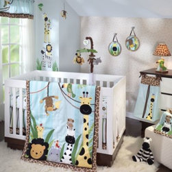 "Lambs & Ivy - Lambs & Ivy Peek-a-Boo Jungle 5-Piece Crib Bedding Set - This adorable jungle-themed bedding set includes a quilt, sheet, diaper stacker, crib skirt and window valance. Quilt measures 35"" x 44""."