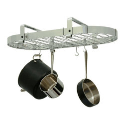 "Enclume - Enclume Low Ceiling Oval Pot Rack Stainless Steel with Grid - Get all the storage capacity of our three foot oval in a rack that is only 8.5"" high. Designed for low ceilings or tall cooks. Mounts in-line or perpendicular to ceiling beams or joists. Mounts on 16"" Centers"
