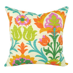 Land of Pillows - Waverly Sun N Shade Santa Maria Mimosa Damask Floral Outdoor Pillow, 16x16 - Fabric Designer - Waverly