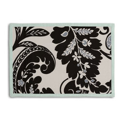 Black & White Modern Scroll Tailored Placemat Set - Class up your table's act with a set of Tailored Placemats finished with a contemporary contrast border. So pretty you'll want to leave them out well beyond dinner time! We love it in this modern swirling paisley-esque print in black & white with touches of silver. go ahead, go wild!