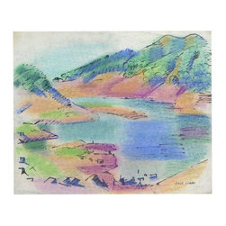 "Used Original Art Oil Pastel and Watercolor Erle Loran - Bright yet soft jewel tones are artfully applied to bring to life this California gold country lake scene. This is an original vintage oil pastel and watercolor work from the estate of Erle Loran with estate stamp signature to the lower right of the canvas.     Note from Seller:    ""Erle Loran was born in 1905 in Minneapolis. After graduating from the University of Minnesota, Loran studied at the Minneapolis School of Art and later in Paris. In 1936, he moved to California where be began his long teaching career in the art department of the University of California, Berkeley. It would also be during this period that Loran would associate himself with modernist Hans Hoffman. His works can be seen at the San Francisco Museum of Modern Art, the Denver Museum, the University of Minnesota, the Santa Barbara Museum, and the International Business Machines (IBM) Corporation."""