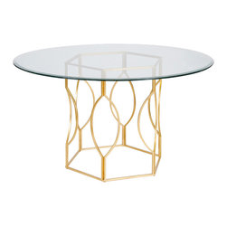 "Worlds Away - Worlds Away Gold Leafed Hex Dining Table with 48""Dia Glass Top ABIGAIL G48 - Worlds Away Gold Leafed Hex Dining Table with 48""Dia Glass Top ABIGAIL G48"