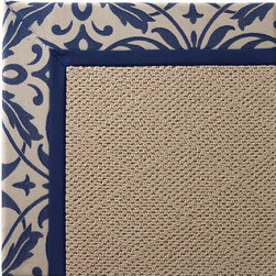Frontgate - Outdoor Parkdale Rug in Sunbrella Softly Elegant Blue White Wicker - 5' x 8' - Wicker-textured base is woven in soft and durable olefin. Cleans with soap and water. Rug pad recommended (sold separately). Made in the USA. Our Parkdale Rug with colorful borders matches the premium all-weather fabrics featured on our replacement cushions, pillows, draperies, and umbrellas. This all-weather rug will work just as beautifully indoors as it does outside. . . . .