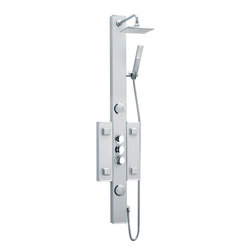 DreamLine - DreamLine SHCM-2050 Hydrotherapy Shower Column - With features like a hand held shower, adjustable body massage sprays, large rain shower head and individual water controls, DreamLine shower panels turn your ordinary shower into a home spa. Add other elements of design like shelves, mirrors and accessory compartments, and your shower not only gets a beauty facelift but also becomes more functional. Installation is easy with only hot and cold water connections and fast mounting on wall-attached brackets. Choose from models made of aluminum, acrylic or stone for the right solution for your bathroom. Product Type: Shower Column,  Assembly required,  Anodized aluminum body in satin finish,  Self-cleaning 7 in. square overhead rain shower,  Four square and two round body sprays,  3-position water control diverter (sprays, rain shower and hand shower),  On/Off valve control,  Thermostatic mixer control,  Visible plumbing fixtures in chrome finish,  Back-to-wall installationProduct Warranty:,  Limited 1 (one) year manufacturer warranty