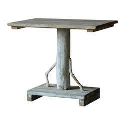 Marco Polo Imports - Zelgai Tree Table - Artisan end table crafted from walnut with unique tree design and a classic cracked white finish.