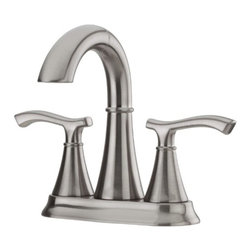 """Price Pfister - 2 Handle 4 Center Set Pullout Lavatory Faucet IDEAL Brushed Nickel - Faucet Hole Configuration  4' Centerset       Number of Faucet Holes  3 Hole       Faucet Centers  4'       Spout Height  5""""       Spout Reach  4""""       Number Of Handles  2 Handle       Handle(s) Included  Yes       Handle Type  Lever       Maximum Deck Thickness  1-1/2""""       Construction  Brass       Valve Type  Ceramic Disc       Flow Rate (GPM)  1.5       Low Lead Compliant  Yes       ADA Compliant  Yes       Eco-Friendly  Water Sense       Features  . Pull Out Spray Head - 18' Hose       Includes  Pop-up Drain"""