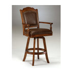 """Hillsdale - Nassau Swivel Leather Game Bar Stool - This swivel game bar stool is distinguished and regal - the classic l ines and nail head trim make it elegant and convenient. Additionally, this stool's brown leather seat and back can swivel 360 degrees. Traditional design and thick seat cushion make this an excellent addition to any home. This piece matches the rest of the Nassau Collection, including the game table and game chair. Features: -Brown finish. -Brown leather seat and back. -Some assembly may be required. -Seat height: 30.5"""". -Overall dimensions: 50"""" H x 25.5"""" W x 23.5"""" D. -Suited for Residential Use Only. -Recommended care: Dust frequently using a clean, specifically treated dusting cloth that will attract and hold dust particles. Do not use wax or abrasive cleaners as they may damage the finish."""