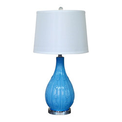 Light Blue Vase Base Bell Shade Indoor Table Lamp, Bowling Base Home Table Lamp - A bottle becomes a table lamp of modern elegance in a artistic design . Crafted with traditional  hand-blown glass techniques, it is crowned with a linen lampshade.With sleek lines and a brilliant look thats certain to add distinctive flair to any room, this traditional crystal table lamp reflects light beautifully.