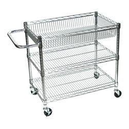 Luxor - Luxor Chrome Wire Cart - LICWT2918 - The LICWT heavy duty transport carts are constructed from chrome plated steel construction and are lightweight, easy to handle carts