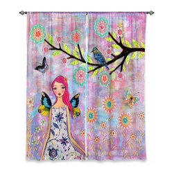 """DiaNoche Designs - Window Curtains Unlined by Sascalia - Butterfly Fairy - DiaNoche Designs works with artists from around the world to print their stunning works to many unique home decor items.  Purchasing window curtains just got easier and better! Create a designer look to any of your living spaces with our decorative and unique """"Unlined Window Curtains."""" Perfect for the living room, dining room or bedroom, these artistic curtains are an easy and inexpensive way to add color and style when decorating your home.  The art is printed to a polyester fabric that softly filters outside light and creates a privacy barrier.  Watch the art brighten in the sunlight!  Each package includes two easy-to-hang, 3 inch diameter pole-pocket curtain panels.  The width listed is the total measurement of the two panels.  Curtain rod sold separately. Easy care, machine wash cold, tumble dry low, iron low if needed.  Printed in the USA."""