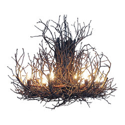 Twig Chandelier III - Stark leafless twigs and warm bright bulbs come together for a stunning display in light and nature. Gnarled branches are gathered together for an organic, handmade look that's completely unique. Perfect for the rustic space, this light fixture commands attention with its innovative design.