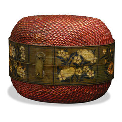 China Furniture and Arts - Antique Mongolian Willow Box - Ideal as an accent piece, this hand-woven willow box is both functional and aesthetically pleasing. Containing a floral pattern design and hand-forged hardware, this antique piece is a work of quality construction. Able to hold collectibles, produce, and numerous other small items, it also functions as convenient storage.