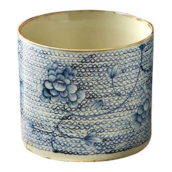 Blue and White Round Porcelain Vase/Planter - A consistent chain motif interrupted by subtle hatched florals is winsomely hand-painted on this expressive vessel, the Blue and White Round Porcelain Vase and Planter. Versatile in its uses and streamlined in its open cylindrical shape uninterrupted by dimensional elements, this container is made more evocative by subtle antiqued darkening on its rim and foot.