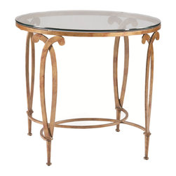 Sherrill Occasional - Sherrill Occasional Round Lamp Table M68-30 - Stylized fleur de lis patterned wrought iron round lamp table with stretcher base and lay-on 9 mm glass top.