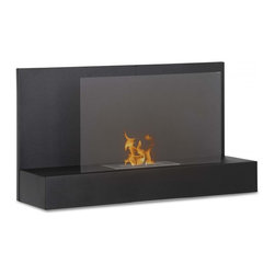 Wall Mount Ethanol Fireplace - Ater BK - The flame is the star of this show and the Ater BK ethanol fireplace provides the perfect stage with its all black powder coated construction and glass safety shield. Easily mounts on the wall of any room in your home.