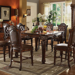 """Acme Furniture - Vendome 9Pc Counter Height Set in Cherry - Vendome 9Pc Counter Height Set in Cherry; Set includes counter height table and 8 counter height chair.; Finish: Cherry; Cushion Thick: 3.5""""; Weight: 350 lbs; Dimensions: Table: 54""""W x 54""""L x 36""""H; Chairs: 24""""Seat Height"""
