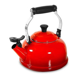 Le Creuset - 1.8-qt. Whistling Tea Kettle - A whistling reminder that it's teatime! Decorate your stovetop with the Le Creuset whistling teakettle. It performs on all heat sources and has a unique locking handle for easy lifting and pouring. The Phenolic knob, handle and whistle are heat resistant for safer use. The enameled interior is easy to clean and will not absorb odors. Creates a lovely serving piece! Features: -Material: Enamel on steel.-Cleaning and care: Hand wash.-Locking handle for easy lifting and pouring.-Enameled interior won't absorb odors or flavors.-Phenolic knob, handle, whistle are heat resistant.-Glazed with hard glossy enamel.-Works well on all heat sources.-Capacity: 1.8-Quart.-Enamel On Steel collection.-Collection: Enamel On Steel.-Distressed: No.-Country of Manufacture: France.Dimensions: -Overall dimensions: 4.25'' H x 4.3'' W x 4.25'' D.-Overall Product Weight: 4 lbs.