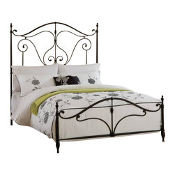 Hillsdale Furniture - Hillsdale Caffrey Metal Bed in Dusty Bronze - Queen - Elegantly romantic and reminiscent of the antique wrought iron classics, the Caffrey Bed is stylish without becoming overwhelming. The Caffrey's dusty bronze finish accents the arching linear design that whimsically adorns both the headboard and footboard. The Caffrey is available in queen and king size, or just as a headboard. Some assembly required.