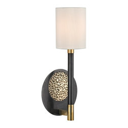 "Hudson Valley - Contemporary Hudson Valley Burbank 16"" High Aged Old Bronze Wall Sconce - This Burbank wall sconce creates a perfect combination of traditional and contemporary. Aged old bronze finish blend perfectly with the white faux silk shade to create this beautiful wall sconce. A great choice to any styles of home.  Aged old bronze finish.  White faux silk shade.  Maximum 60 watt or equivalent candelabra base bulbs (not included).  16"" high.  7"" wide.  Extends 5"" from the wall."