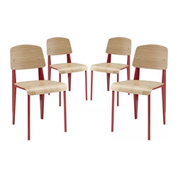 Modway Imports - Modway EEI-1263-RED Cabin Dining Side Chair Set of 4 In Red - Modway EEI-1263-RED Cabin Dining Side Chair Set of 4 In Red