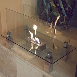 Bluworld Nu-Flame - Fiero Indoor Freestanding Ethanol Fireplace - Fiero by Nu-Flame. Not just an accent piece, the Fiero is a focal point. Shimmering, thick tempered glass makes this fireplace special as the flames appear to float in space. The Fiero�۪s long burning fire is enjoyable from every perspective and, with its glass construction, takes up virtually no visual space in your room. Easily adjust the flame height or extinguish it completely with the provided dampener tool.  Perfect for any room of your home or office.  For indoor use only. Fuel not included, we recommend using Nu-Flame Bio-Ethanol Fuel.