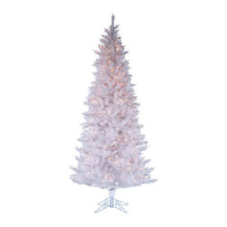 Kurt Adler - Kurt Adler 7.5-foot Pre-lit Designers Series Crystal White Tree - With a full,white design,this tree is pre-lit with 450 clear UL lights,and has 1077 tips,a white color cord,a metal base,and a 43-inch diameter.