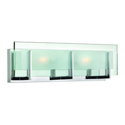 Hinkley Lighting - 5652CM Latitude Bath Vanity Light, Chrome, Clear Beveled Inside / Etched Glass - Modern Contempo Bath Vanity Light in Chrome with Clear Beveled Inside / Etched glass from the Latitude Collection by Hinkley Lighting.