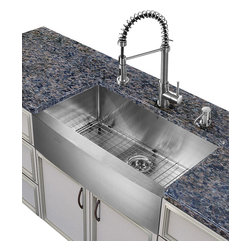 Vigo Industries - 30 in. Kitchen Sink and Faucet Set - Includes soap dispenser, matching bottom grid and sink strainer