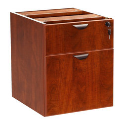 """Boss - 2 Hanging Pedstal - 3/4 Box/File - Cherry - The 3/4 pedestal features a file and box drawer. It can be used with any of the series desk shells Finished in Cherry laminate; Frame Color: Cherry; Overall Size: 16""""W X 18""""D X 19""""H"""
