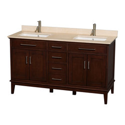 """Wyndham Collection - Hatton 60"""" Dark Chestnut Double Vanity w/ Ivory Marble Top & Square Sink - Bring a feeling of texture and depth to your bath with the gorgeous Hatton vanity series - hand finished in warm shades of Dark or Light Chestnut, with brushed chrome or optional antique bronze accents. A contemporary classic for the most discerning of customers. Available in multiple sizes and finishes."""