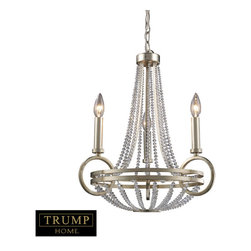 Elk Lighting - Elk Lighting 31013/3 New York 3-Light Chandelier in Renaissance Silver - 3-Light Chandelier in Renaissance Silver belongs to New York Collection by Taking Styling Cues From The Art Deco Period, The Trump Home��_��_��__��__ New York Collection Features Clean Lines And Unique Design Elements. The Lights Are Supported By Rings That Gracefully ��_��_��_��_��_Float��_��_��_��_��_ Around A Larger Double Ring. Finished In Renaissance Silver Leaf With Cream Fabric Shades, This Series Is Versatile And Contemporary. Shades Are Optional On Items With Crystal. Chandelier (1)