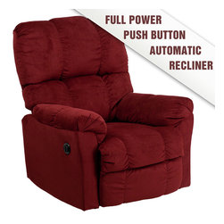 Flash Furniture - Contemporary Top Hat Berry Microfiber Power Recliner - Contemporary Top Hat Coffee Microfiber Power Recliner