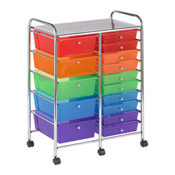 Ecr4kids - Ecr4Kids 15 Drawer Mobile Storage Organizer (Assorted) - This practical organizer can hold just about everything from art and crafts projects to office supplies or even hand tools With its 15 drawers, its perfect for the home or office. Polypropylene drawers easily slide in and out on the chrome plated steel frame rails. This double-wide, multi-purpose organizer glides effortlessly under most tables or desks on 6-swivel casters (2-locking).