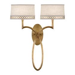 Fine Art Lamps - Fine Art Lamps 784750-2ST Allegretto Gold Leaf Wall Sconce - 2 Bulbs, Bulb Type: 60 Watt Candelabra; Weight: 6lbs