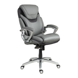 Serta by True Innovations - Serta AIR Executive Office Chair Grey Bonded Leather - Serta by True Innovations - Office Chairs - 43807 - For more than 75 years, Serta has been an industry leader in comfort products worldwide. That tradition of innovation and quality continues today. From a brand that is synonymous with quality, comfort and style, Serta Health and Wellness Executive Office Chair offers an amazing new support feature called the AIR Lumbar. The AIR Lumbar flexes and pivots with your body as you lean and twist providing a continuous support experience you've never felt before in an office chair. Next, is the upholstery in soft and supple light grey eco-friendly bonded leather with contrast stitching. The deep, ergo layered body pillows offer the body a serene and tranquil seating experience. Perforated center area of back adds great breathability. Stylish padded armrests for precise arm positioning and added hand, wrist, and forearm comfort. Ergonomic seat-side cable actuated levers for convenient height and tilt adjustments. 1 year limited warranty. Product assembly is required. Designed in the USA.