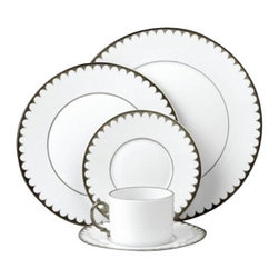 L'Objet - L'Objet Aegean Platinum Tea Cup and Saucer Gift Box Set - Greco-Roman antiquities inspired this contemporary dinnerware with its dramatic border of luxurious raised scales. Limoges Porcelain, Hand Gilded24k Gold or Platinum Decorated. Made in Portugal. Dishwasher Safe on Delicate Setting. Not Microwave Safe. Gift Box Set of 2. L'Objet is best known for using ancient design techniques to create timeless, yet decidedly modern serve-ware, dishes, home decor and gifts.