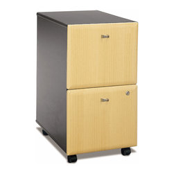 Bush Business - Mobile Two Drawer Filing Cabinet - Series A - If you are a stickler for all things beautiful, with clean lines, straight edges and a touch of class this will bring this design element to the office.  This great two drawer filing cabinet will provide a great place for you to put all of those papers that are piling up on your desk.  Beautiful wood laminate and sleek handles really make this a nice piece for your office.  This is a must-have two drawer file cabinet to keep all your files and other paper work organized.  The drawers can be securely locked so you ensure the privacy and security of your files and/or other materials that you may like to store within. * Two file drawers hold various sized documents. Both drawers can be locked. Drawers are fully extending on ball-bearing glides. Able to slide under desks. Smooth casters for portability. 15.512 in. W x 20.256 in. D x 28.150 in. H