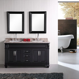 Design Element - Design Element Hudson 60-inch Double Sink Bathroom Vanity Set - Organize your home in style with this vanity and mirror set. This furniture features room for two under-mount sinks and hand-finished framed mirrors.