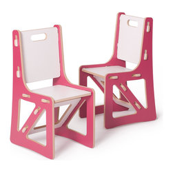 Sprout - Kids Chairs 2 Pack, White, Pink & White - Sprout Kids Chair snaps together in seconds all with no tools. The perfect addition to the nursery, toy room, or preschool these contemporary play chairs encourage exploration and creativity in your kids. The seat, back, and brace can be swapped with other chairs, rockers, or cubbies to change the style, color, or even the function of your kid's chairs. Every piece you add to your children's collection enhances their learning environment and builds possibilities to explore and create in the world around them. Use with the Sprout Kids Table for a complete kids chair and table set.