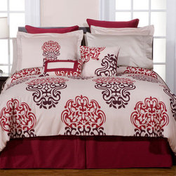 """Pointehaven - Luxury 12 Piece Bedding Set in Cherry Blossom - Features: -Set includes 1 comforter, 2 shams, 1 bed skirt, 2 euro shams, 1 round pillow, 1 decorative pillow, 1 flat sheet, 1 fitted sheet and 2 standard pillowcase. -300 Thread Count. -Material: 100% cotton. -Luxury sizes for comfort and suitable for pillow top mattress. -Ensemble oversized pillows made of 100% cotton filled with 100% Polyester fibers. -Fitted sheet has elastic all around. -Sateen printed fabric. -Recommended to dry clean. -Dimensions: 12""""-19"""" Height x 22"""" Width."""