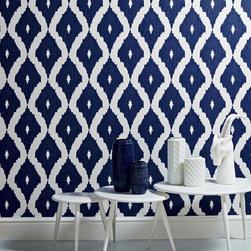 Graham & Brown - Kellys Ikat Wallpaper - A contemporary take on the Ikat design trend in blue and white is inspired by Kelly��_�s love of Asian design culture and traditional fabric designs. This geometric wallpaper design co ordinates with the Linen Texture semi plain and features shimmering highlights mixed with a matte fabric effect Ikat pattern that would add a real impact to your home or even workspace.