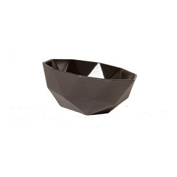 """KL Studios - Geo Planter 9"""", Gunmetal - Unlike most ceramic pieces that have a """"foot"""", each Geo Planter is fully glazed and fired using our own unique method. This way the piece does not have a designated way to sit or hang and can be placed or viewed from all angles."""