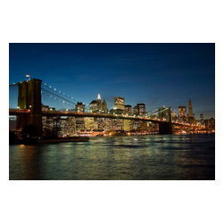 Custom Photo Factory - New York Night Canvas Wall Art - New York Night  Size: 20 Inches x 30 Inches . Ready to Hang on 1.5 Inch Thick Wooden Frame. 30 Day Money Back Guarantee. Made in America-Los Angeles, CA. High Quality, Archival Museum Grade Canvas. Will last 150 Plus Years Without Fading. High quality canvas art print using archival inks and museum grade canvas. Archival quality canvas print will last over 150 years without fading. Canvas reproduction comes in different sizes. Gallery-wrapped style: the entire print is wrapped around 1.5 inch thick wooden frame. We use the highest quality pine wood available. By purchasing this canvas art photo, you agree it's for personal use only and it's not for republication, re-transmission, reproduction or other use.
