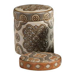 Batik Scented Candle Jar in Gift Box - Deep teal with flourishing florals in a warm, rich tan offers bright color with peacock prominence - but it's all packaged at a tasteful size in the quality ceramic walls of the Batik Scented Candle Jar. A thoughtful, elegant gift or a deeply-colored, vivid addition to your master bath or reading nook, this fragrant candle in its lidded ceramic holder comes with a lovely gift box.